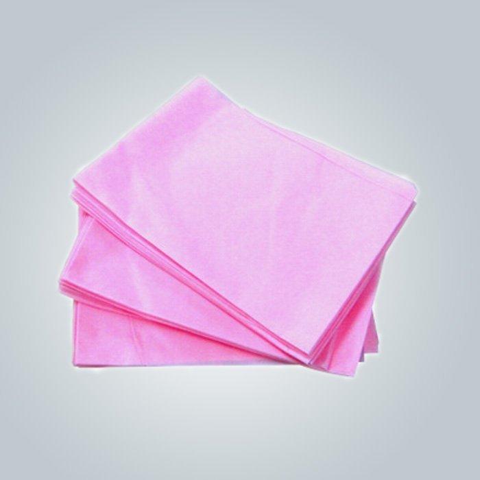 الاستخدام الطبي الوردي السرير القابل للتصرف ورقة بولي بروبلين غير المنسوجة ملاءة سرير في قطعة