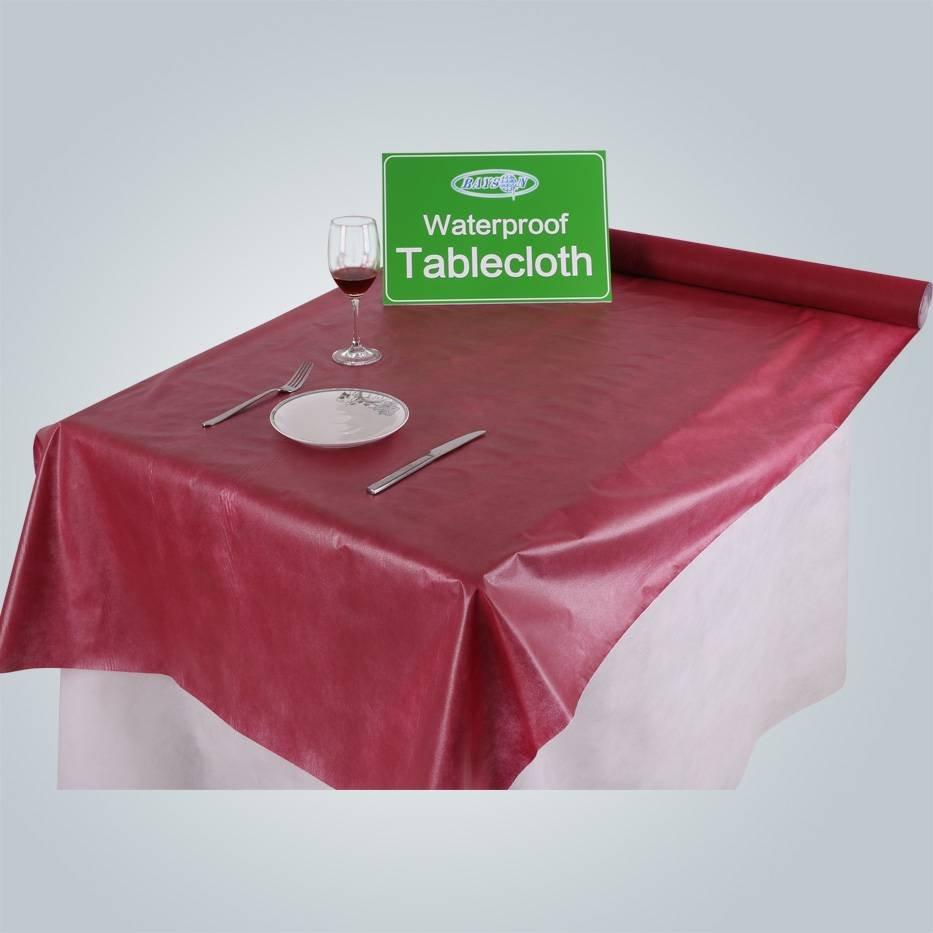 rayson nonwoven,ruixin,enviro Fashionable printed waterproof PVC tablecloth with nonwoven Non Woven Tablecloth image172