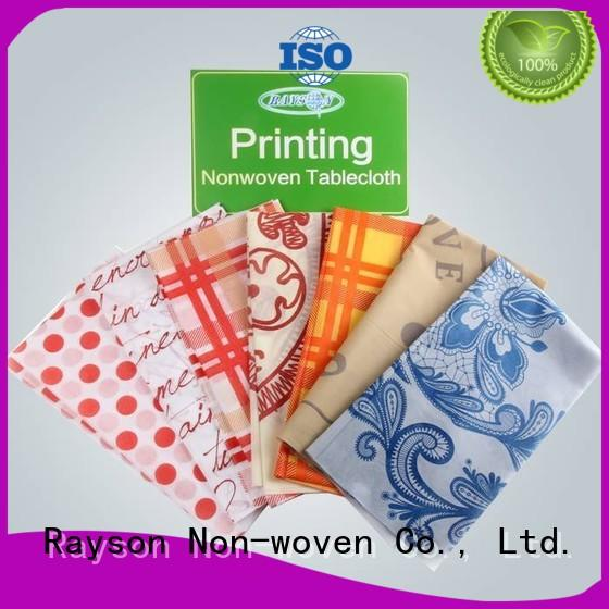 pp non woven fabric manufacturer room fullbleed rayson nonwoven,ruixin,enviro Brand printed table covers