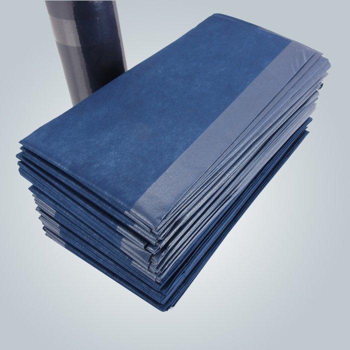 Color azul oscuro laminado no tejido papel sábana de masaje