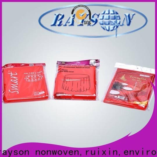 rayson nonwoven، ruixin، enviro pp مفارش المائدة المستديرة الرخيصة المخصصة للحفلات