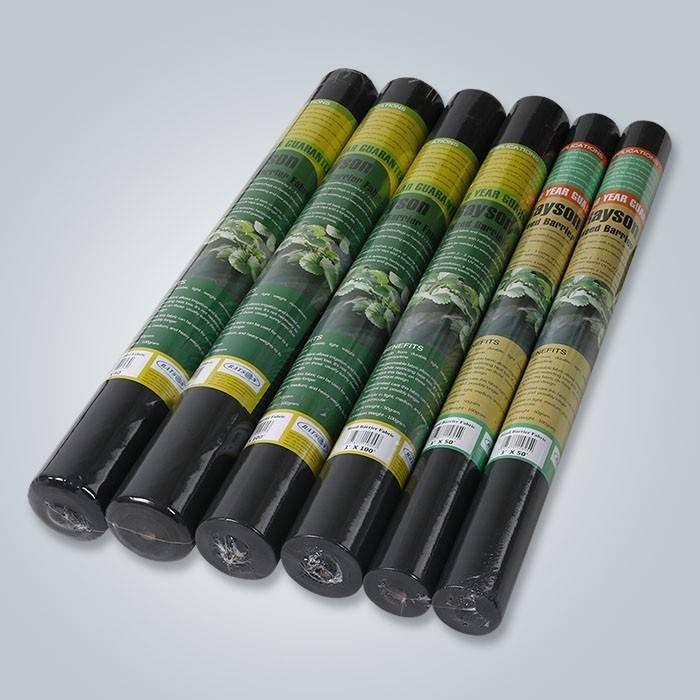 Control negro de la mala hierba del jardín del color anti-UV 60gsm usado en el jardín