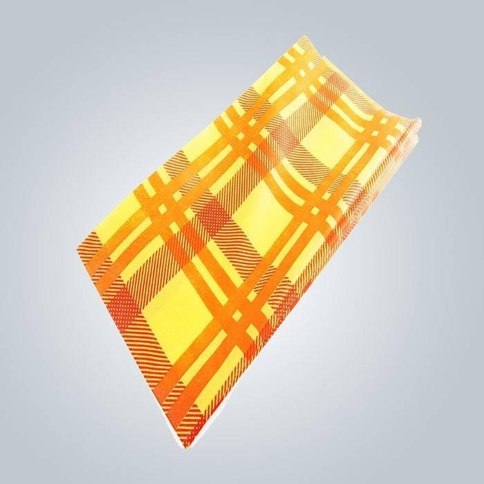 फैंसी 38-75 जीएसएम वजन रंगीन मुद्रण वर्ग गैर बुना टीएनटी तालिका कवर इटली को निर्यात किया