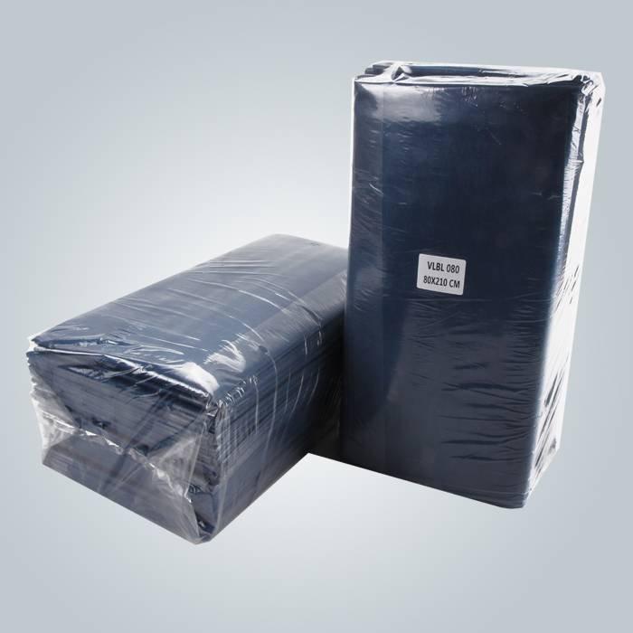 गहरे नीले रंग के लिए मालिश गैर बुना कागज Bedsheet टुकड़े टुकड़े में