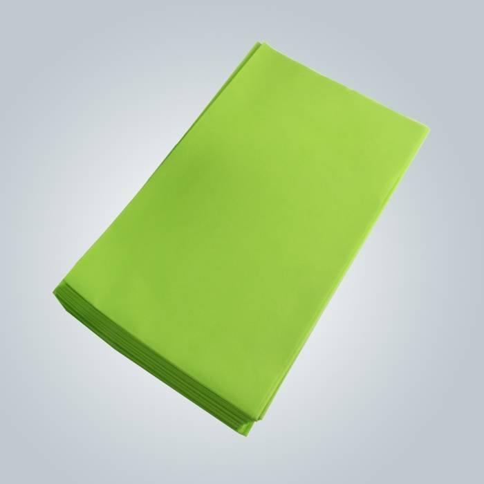 الأخضر اللون 100٪ العذراء غير المنسوجة النسيج ملاءات صحية للجلد