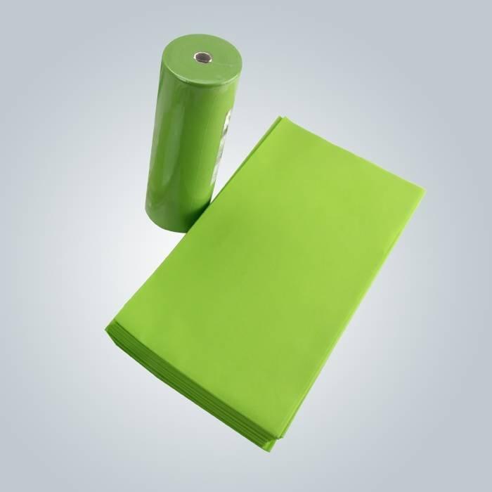 Lenzuolo eliminabile facile di trasporto di colore rosa verde chiaro di TNT che imballano in rotolo o pezzi