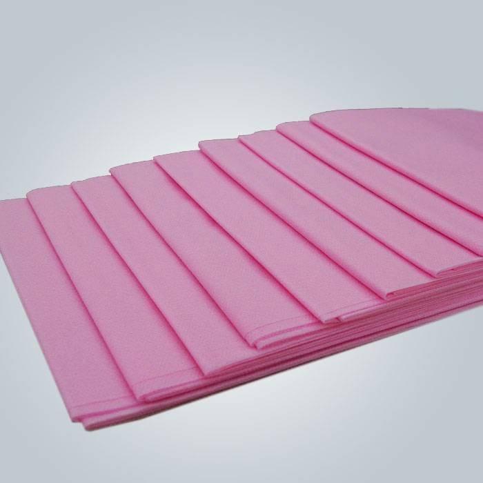 गुलाबी रंग डिस्पोजेबल गैर बुना फ्लैट बेडशीट जलरोधक पीई लेपित नॉनवॉवेन