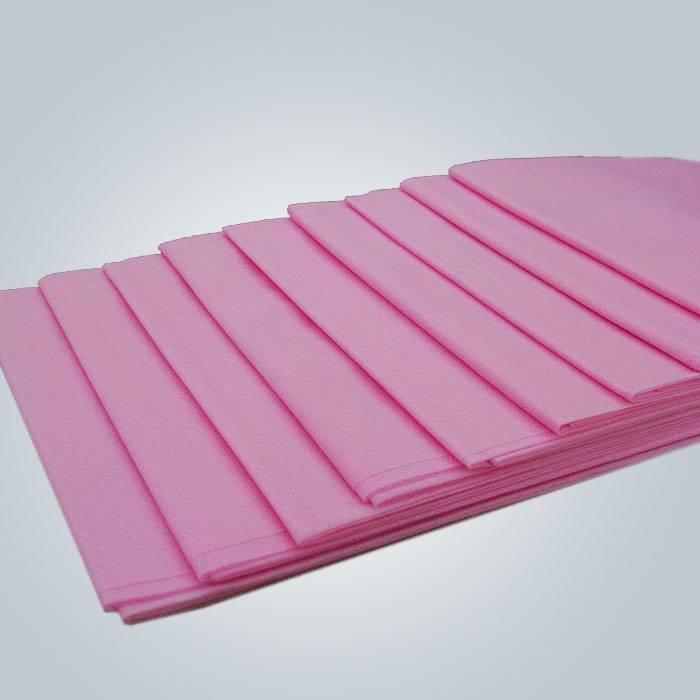 핑크 색상 일회용 부직포 플랫 Bedsheet 방수 PE 코팅 Nonwoven
