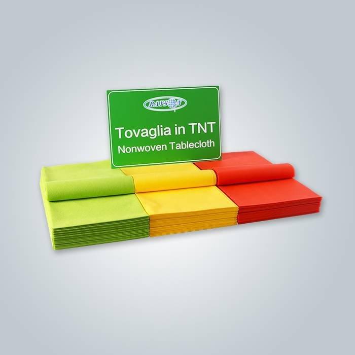 Tessuto della copertura della tabella pretagliato non tessuto rosso / verde / giallo di colore sul materiale di Spunbond di 100%