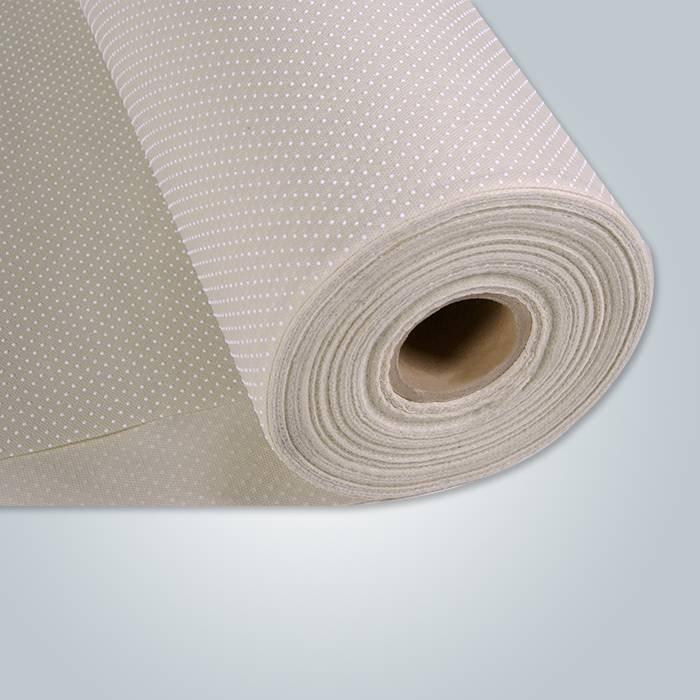 Tissu PP non tissé à pois en PVC beige