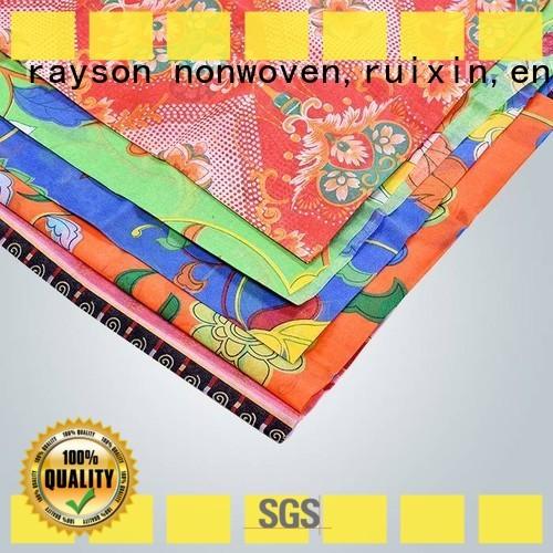 Rayson no tejido, ruixin,enviro marca no tejido rollos de tela impresa fábrica para ropa de cama